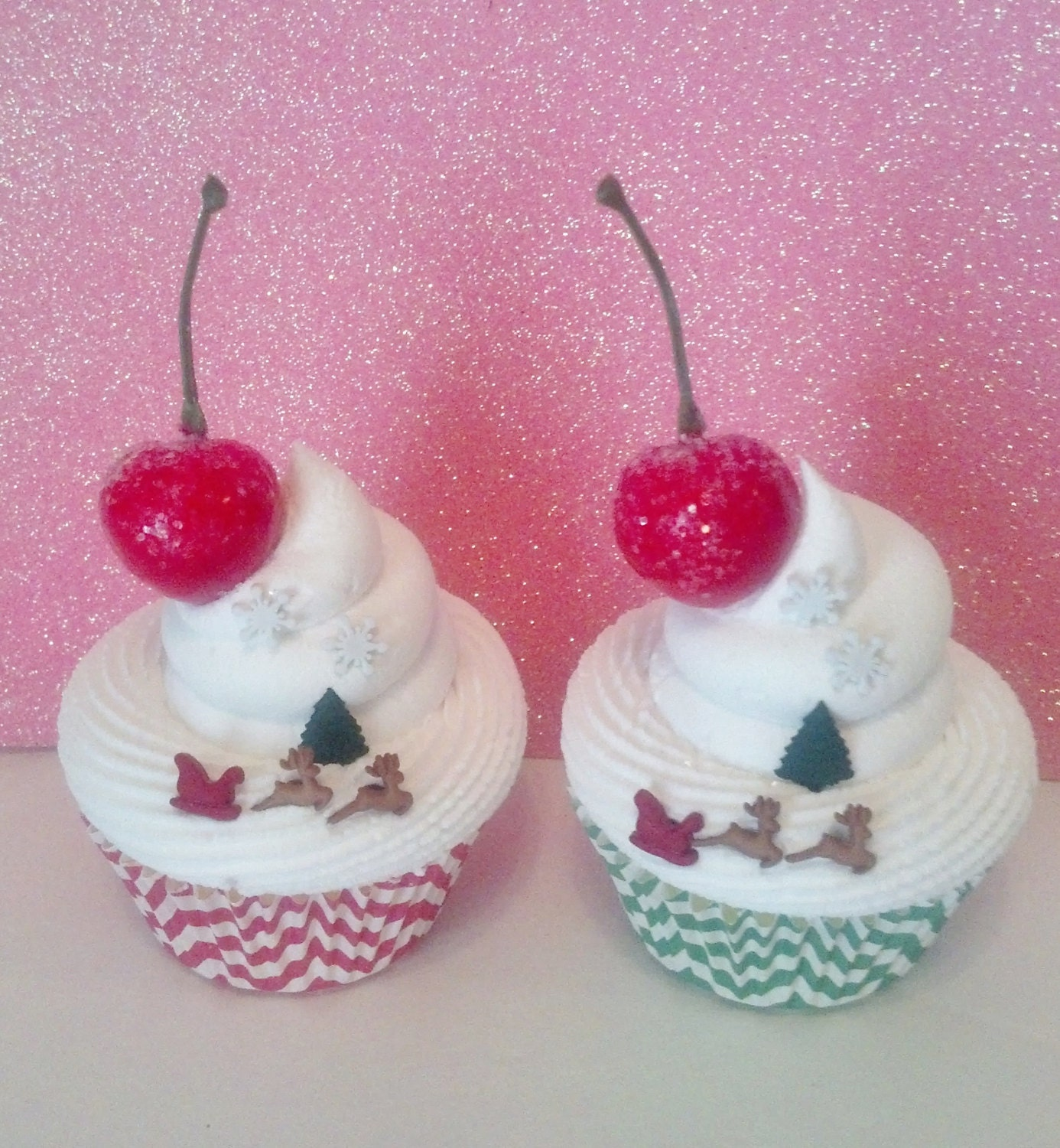 Chevron Christmas Fake Cupcake Photo Props, Holiday Decorations and Accents, Secret Santa Gifts, Shop Displays, Reindeer and Sleigh Cupcakes