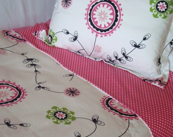Custom Bedding Twin Duvet Cover Candy Pink/White Polka Dot and Floral Print