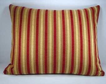 Decorative Upholstery Lumbar Pillow Bed Pillow Accent Pillow Red and Gold Stripe Chenille Pillow Cover 16x21