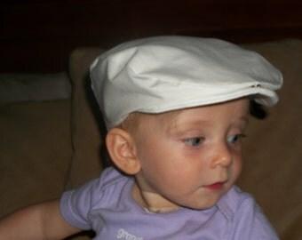 White Scally Cap Christening Hat Satin Cap White Cotton Cap