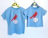 Cardinal Bird on a Baseball T Shirt for Kids, Babies and Toddlers - Blue, Pink