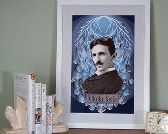 Nikola Tesla poster, Paper art print, 12x18
