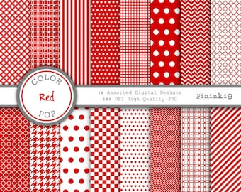 Red Digital Paper - Red Scrapbooking Paper - Instant Download - Commercial Use - Red chevron, Red polka dots, Red Stripe, Red Gingham