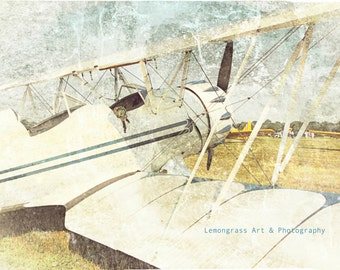 Antique Airplane, Aviation Photography, Fine Art Print, Vintage Effects, Blue Sky, Biplane, Wings, Cockpit, Aircraft Wall Art/Home Decor