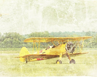 Antique Airplane, Aviation Photography, Fine Art Print, Biplanes, Yellow Wall Art, Take Off, Old Aircraft, Nursery Decor, Aviation Image