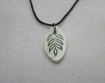 Green Leaf Sprig Ceramic Necklace