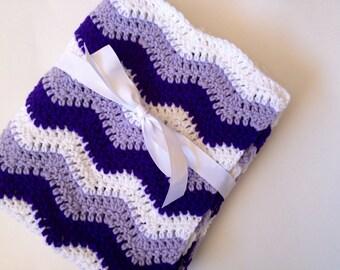 Baby blanket crochet lavender purple white ripple chevron blanket
