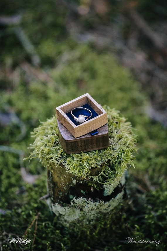 Unique ring box - engagement ring box - wood ring box - proposal ring box -  personalized box - wedding ring box - slim proposal box