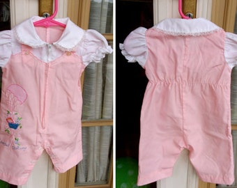 Vintage 1960's - Special Delivery Zip-up Pink Jumpsuit with Attached Puffed Sleeved Short Sleeve Blouse or New Baby Girl
