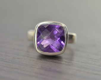 Cushion Solitaire, size 5, 7, African Amethyst 5ct ring FEBRUARY BIRTHDAY