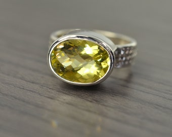 Lemon Quartz Ring, 6ct oval silver chunky wide band ring - Fiona Ring
