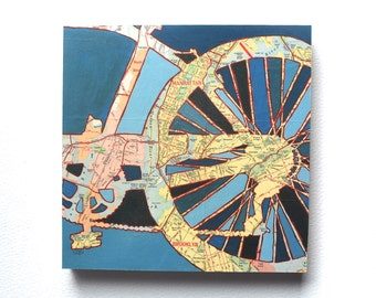 Bike New York City mounted print - NYC, Brooklyn, Manhattan, Central Park  bicycle art mounted to wood