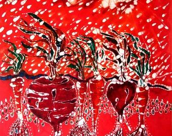 Blowing Rain on Garden   -  batik print from original