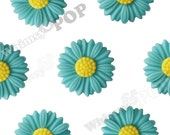 6 - Large Deco Teal Daisy Sunflower Cabochons, Daisy Cabochons, 27mm (R6-043)