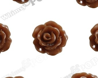 10mm - Chocolate Brown Small Detailed Flower Rose Resin Cabochons, Rose Shaped, 10mm Rose Cabochons, 10mm x 4mm (R1-077)