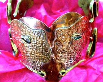 Modernist Art Copper & Brass Kissing Faces Signed Bracelet