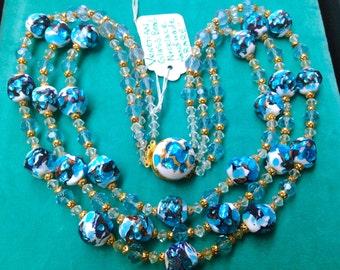 Art Deco Venetian Blue & Gold Foil Opal Milk Glass 3 Strand Beaded Necklace