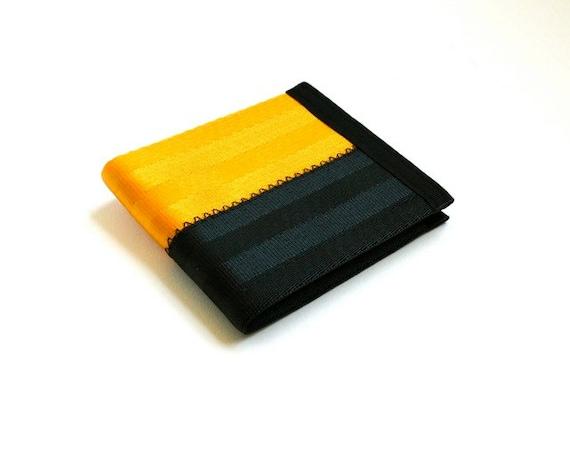 Vegan billfold wallet - gold and black seatbelt webbing