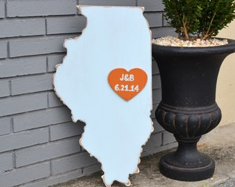 Custom Wooden State Wedding Guestbook - 2 ft Illinois in Distressed Light Blue - any state/country available in many colors