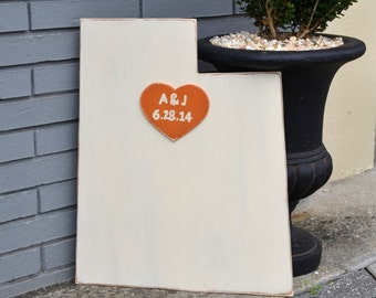 Custom Wooden State Wedding Guestbook - 2 ft Utah in Distressed Ivory - any state/country available in many colors
