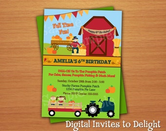 Personalized Fall Festival Halloween Party or Birthday Invitation DIY