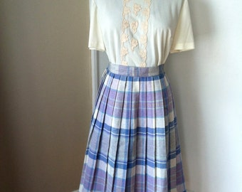 Blue and Purple Pleated Skirt - Wool - Light Blue, Purple, Green, Yellow, White- S427