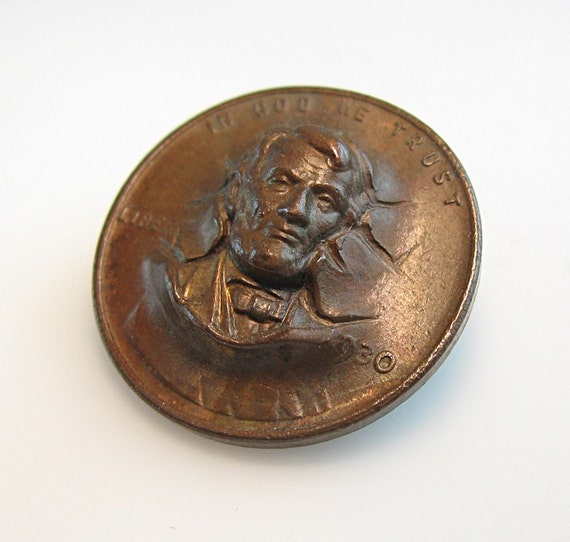 Lincoln copper penny pin punch out three d amazing unisex 1930 - Incredible uses for copper pennies ...