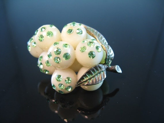 Austrian Lucite Pin Forbidden Fruit White Grapes Green Rhinestones 1940's VIntage Jewelry