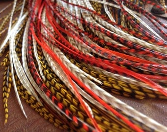 Long Feather Extensions Hair Accessories, Long Golden Olive Grizzly, Orange, Tan Grizzly Hair Feathers for Feather Hair Extensions