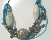 Necklace, Moroccan inspired, with Yemenite Silver bead, antique african beads, Ethiopian silver-metal beads, Mille fiori beads