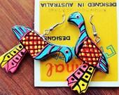 Animal Crackers Designs. Colourful fluro pheasant wooden earrings.
