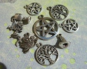 9 pc. Mixed WICCAN Charm Lot Pentacles Chalice Dragon OWL Tree PAGAN Silver finish  d.i.y.  Jewelry Making