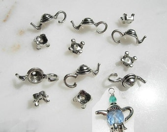 6 Sets TeaPot Bead CAPS- silver finish D.I.Y.  Jewelry Making Alice in Wonderland Garden MAD Tea Party