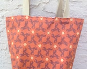 Orange, Blue, Brown or Green Greyhounds and Chevron Reversible Canvas Tote Bag