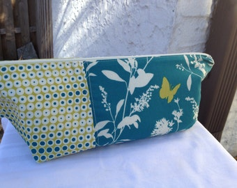 Teal Butterfly Large Makeup Bag