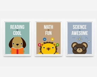 Reading is Cool, Math is Fun, Science is Awesome, Children Decor, Playroom Art Prints, Classroom Decor Set of 3