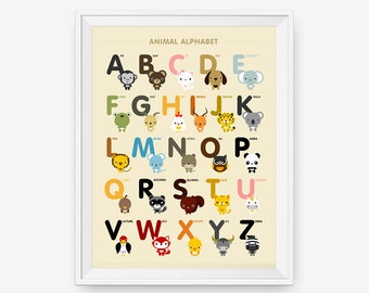 SALE Animal Alphabet Poster A-Z, Children Decor, Classroom Decor, Nursery Art