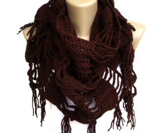 Spring Scarf chocolate brown shawl ,scarf ,crocheted scarf ,neckwarmer ,cowl - wrap - gift ideas for her ,