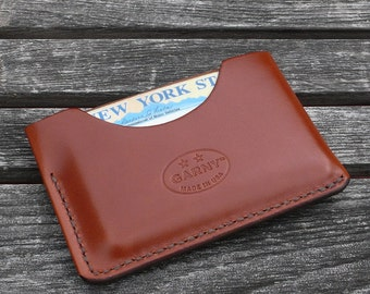 Leather Card Case, minimalist leather wallet, men's wallet, simple wallet, thin wallet, chestnut brown, garny No.3