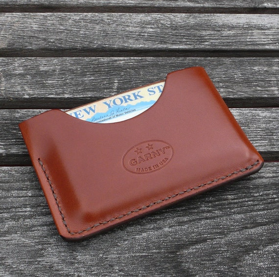 GARNY  No.3 Card Case - Minimalist Leather Wallet from chestnut brown leather  - al