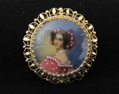 Antique 14K Painted Miniature Portrait Cameo Pendant Brooch / Clear Enameled Or Curved Glass / FREE US Shipping