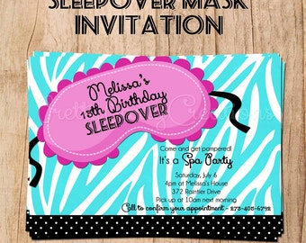 SLEEPOVER MASK invitation - YOU Print