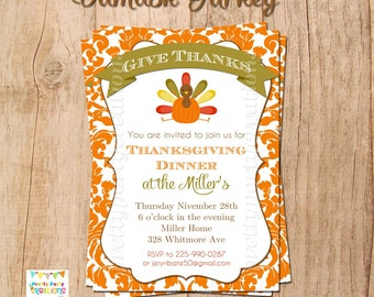 DAMASK TURKEY Thanksgiving invitation - YOU Print