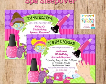 SPA SLEEPOVER Party personalized invite - 2 girls to choose - YOU Print