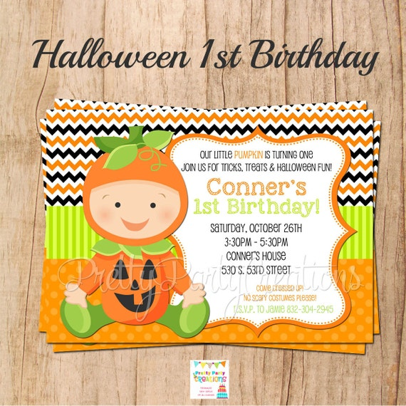 HALLOWEEN 1st Birthday Or Baby Shower Invitation With Or