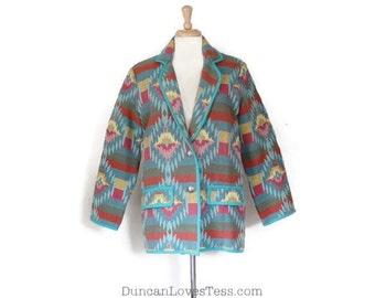 Vintage Blazer / 80s Jacket / Southwestern Style Blazer / Blanket Jacket / Cotton Blazer / Bedford Fair