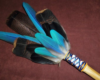 Smudge Fan- Enchanted Wisdom -Large Sacred Prayer Fan with a Blue Kyanite Crystal and Bamboo Handle