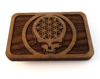 Flower of Life Your Face Wooden Belt Buckle - Sustainably Harvested Unfinished Walnut Wood - Sustainable Dead Sacred Geometry