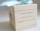 Baptism Gift from Aunt Christening Gift Baptism Gift Dedication Gift Personalized 4 sided Baptism Block quote or bible verse on back