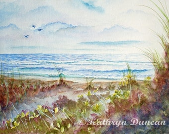 Ocean Beach Sand Hills Original Watercolor Painting matted to 16x20 blue, mauve, green, brown